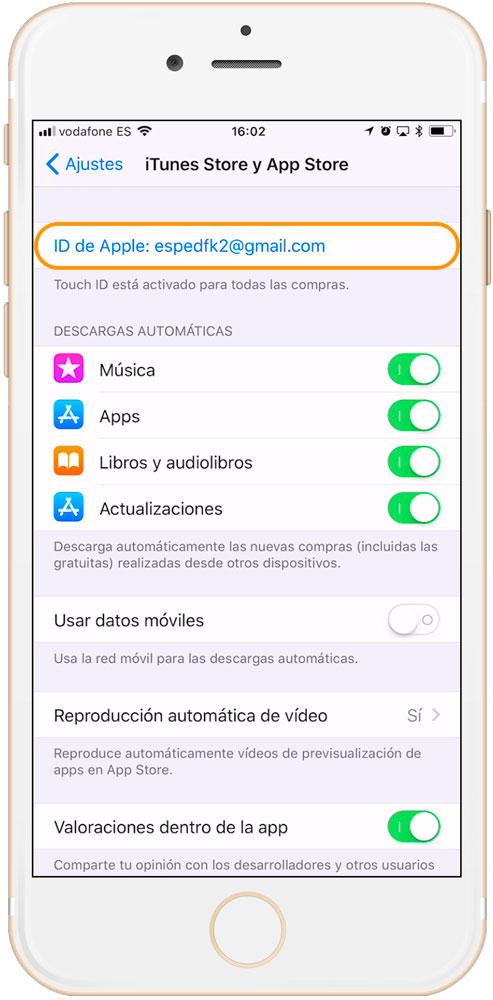 Ajustes iTunes y App Store para ver el historial de compras