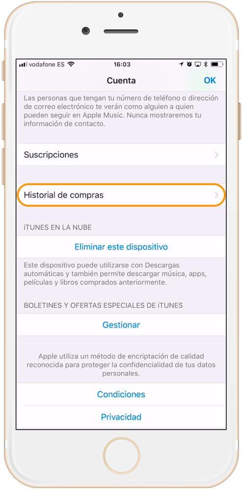 Entrar en Historial de compras en iPhone o iPad