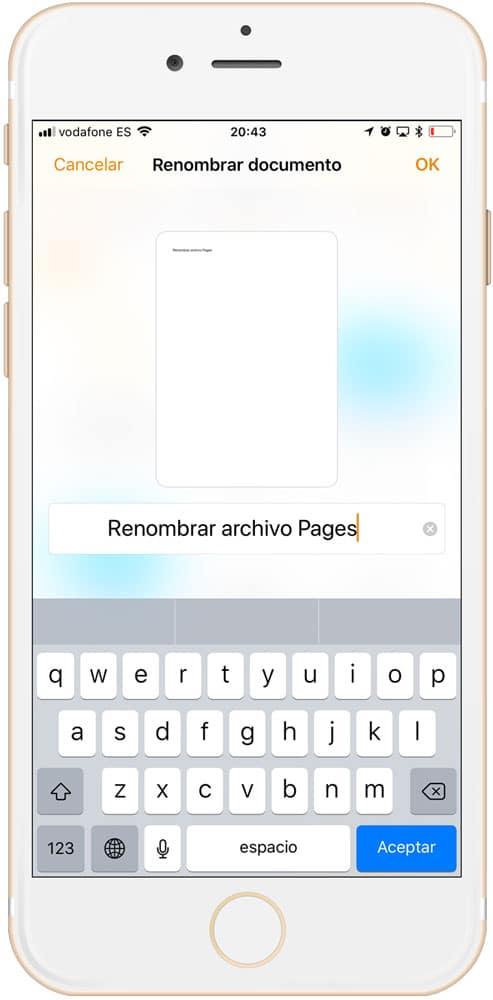 Archivo renombrado en pages para iOS pulsando el nombre