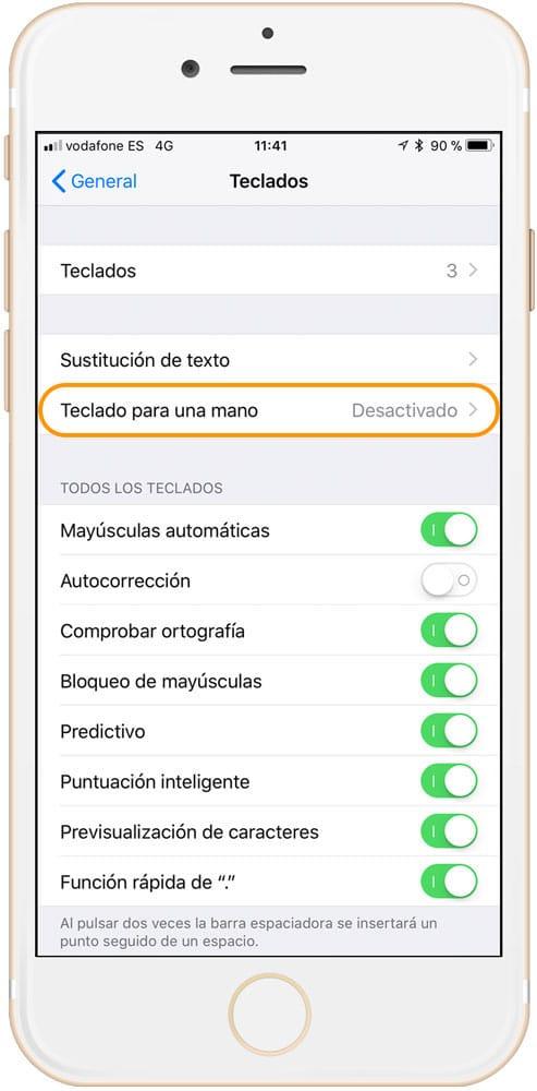 Ajustes Teclado iOS