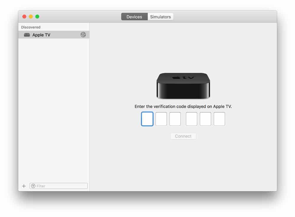 Código de conexión del Apple TV para hacer capturas de pantalla en el Apple TV 4k