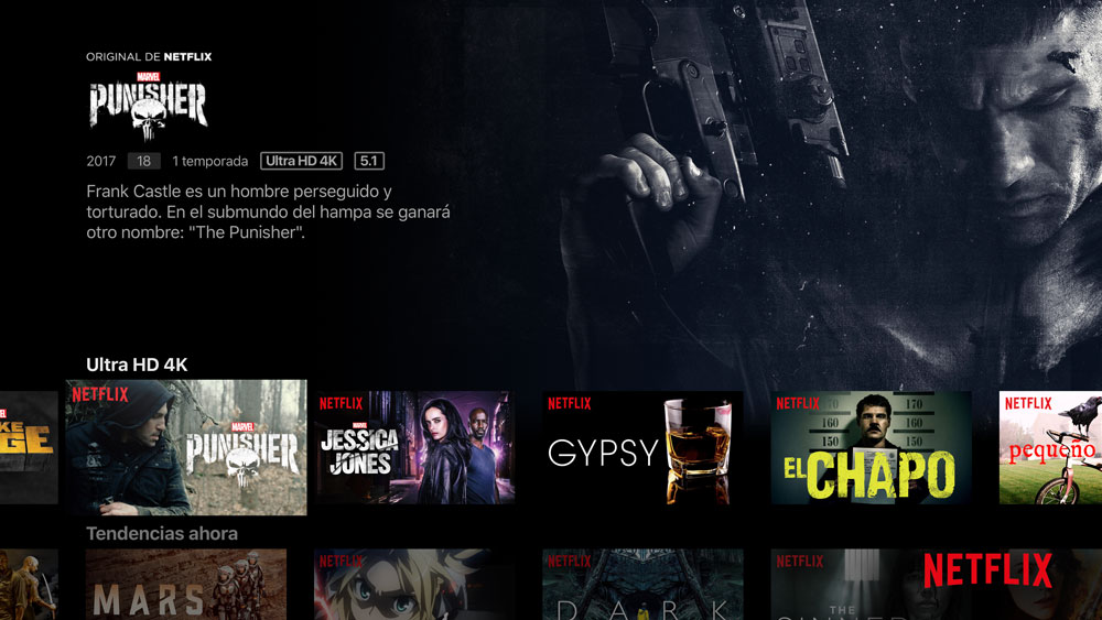 captura de pantalla en el Apple TV 4k de Netflix