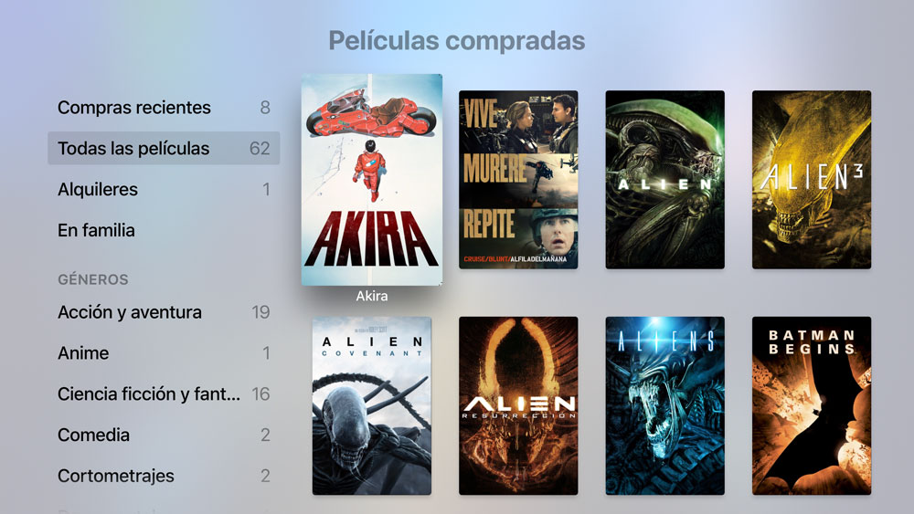 captura de pantalla en el Apple TV 4k de Películas