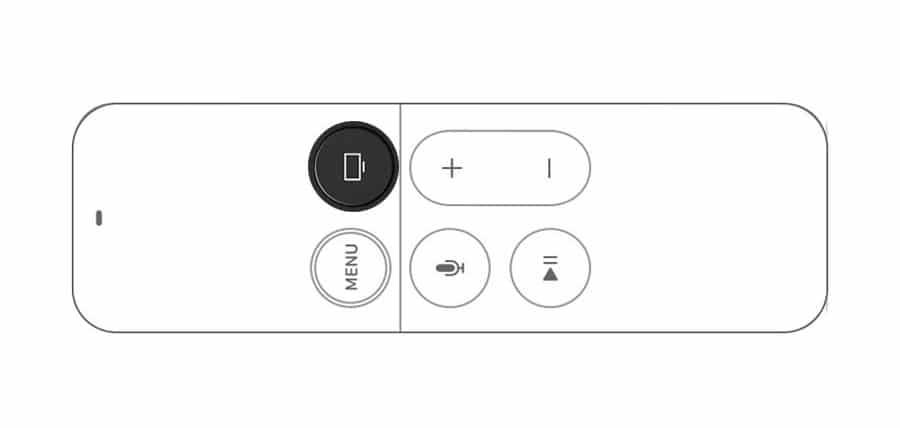 Botón inicio del mando del Apple TV