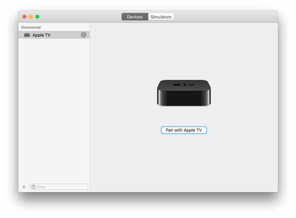 boton para conectar el Apple TV con Xcode