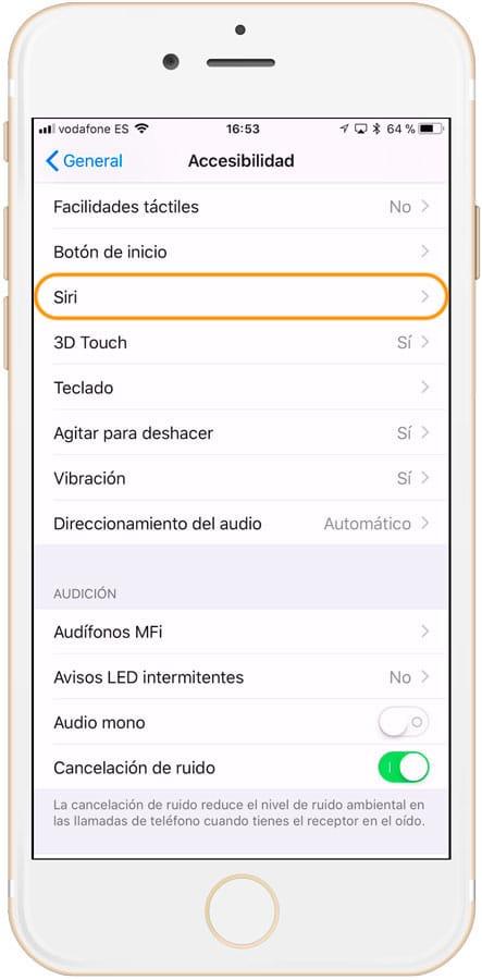 Cómo activar Siri en iPhone accesibilidad de siri