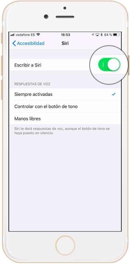 Cómo activar Siri en iPhone escribiendo