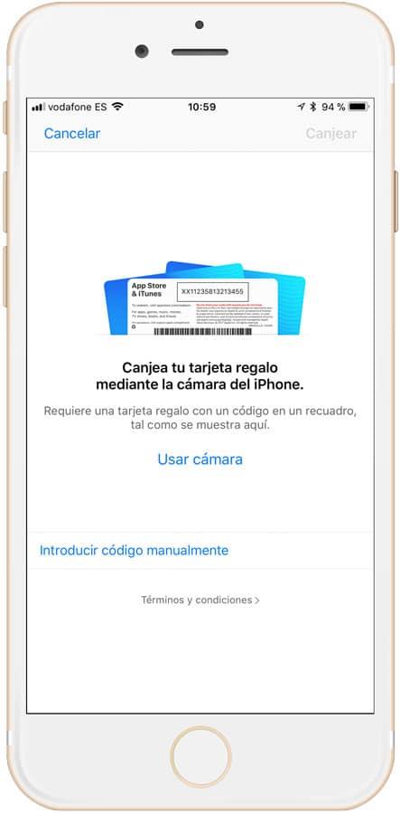 Cómo canjear tarjeta iTunes escanear código