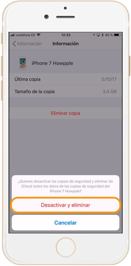 Confirmar eliminar copia de seguridad en iCloud