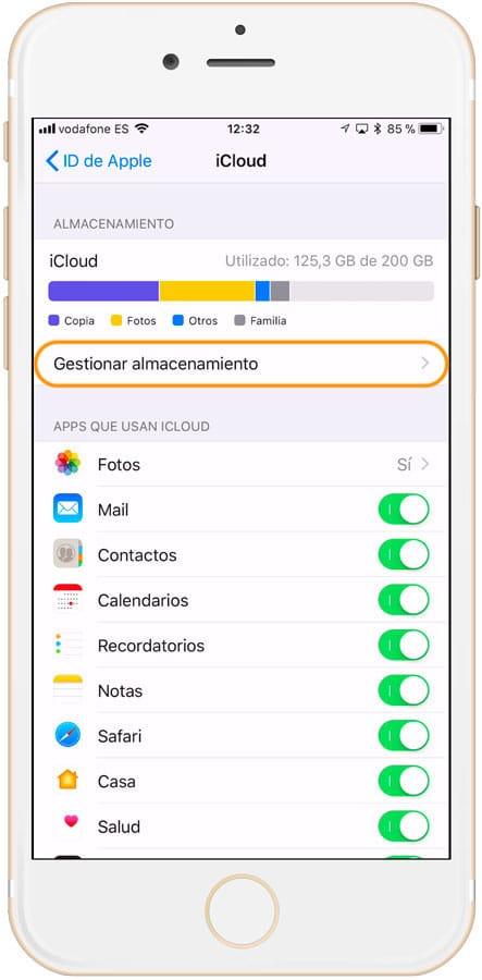 Sección gestionar almacenamiento de iCloud