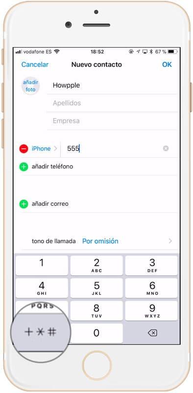botón para acceder a las opciones para guardar un numero de teléfono con extensión