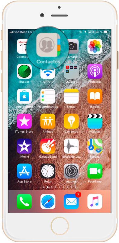 Agenda para guardar un número de teléfono con extensión en iPhone