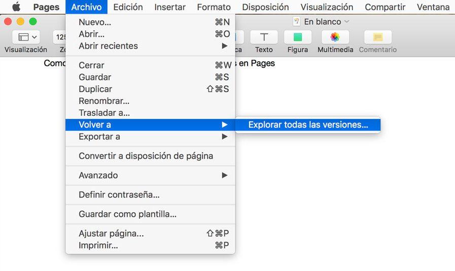 Cómo ver el historial de versiones de documentos en Pages para Mac