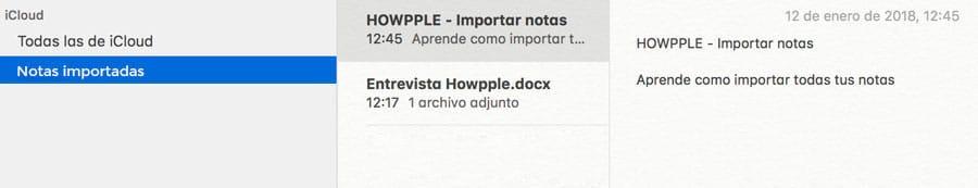 sección de notas importadas en Mac