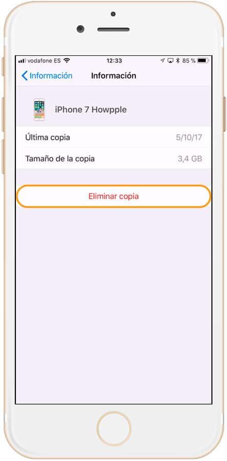 Boton eliminar copia de seguridad de iCloud