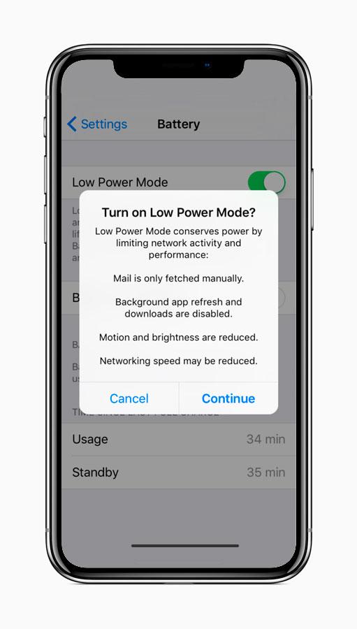 Aviso del modo de bajo rendimiento en iOS 11.3