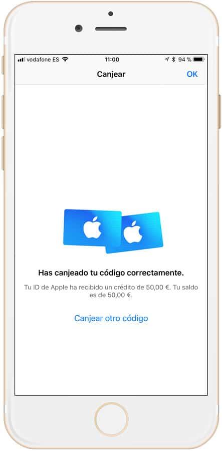 Saldo tras canjear tarjeta iTunes