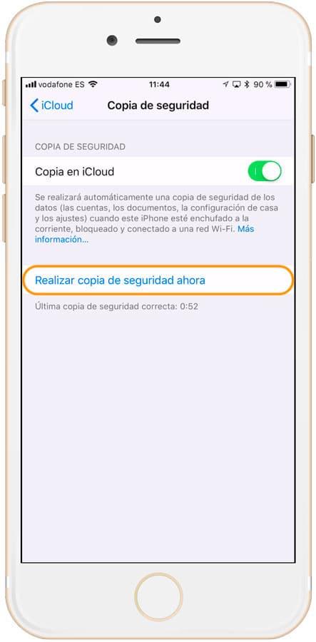 Pulsar para hacer una copia de seguridad en iCloud manual