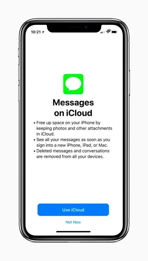 iCloud para mensajes de iOS
