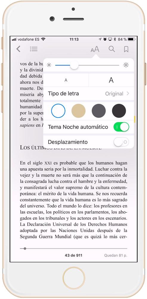 Ajustes generales de iBooks