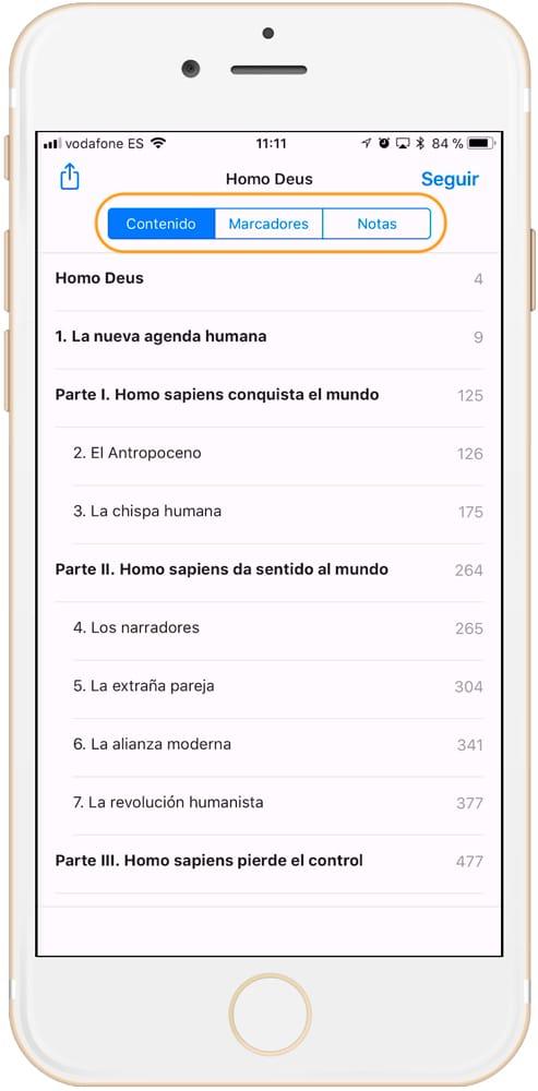 Cómo usar iBooks abrir indice