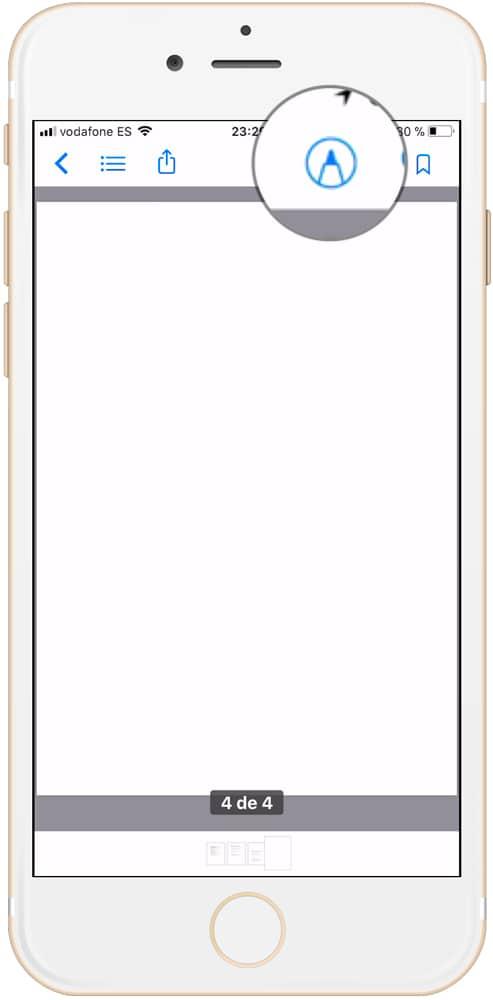 Botón para personalizar PDF en iBooks