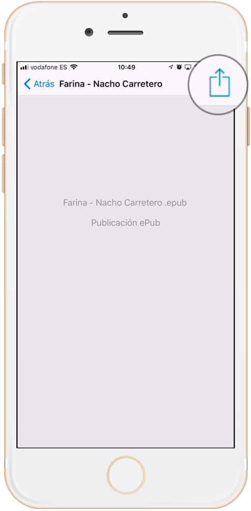 Botón compartir para importar ePub a iBooks