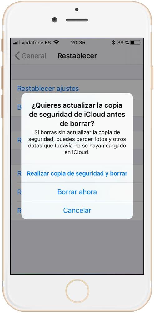 Aviso de copia de seguridad para eliminar otros datos de iPhone