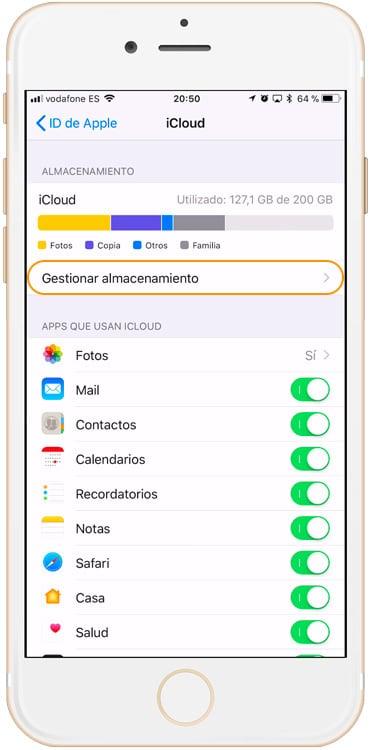 Gestionar almacenamiento de iCloud
