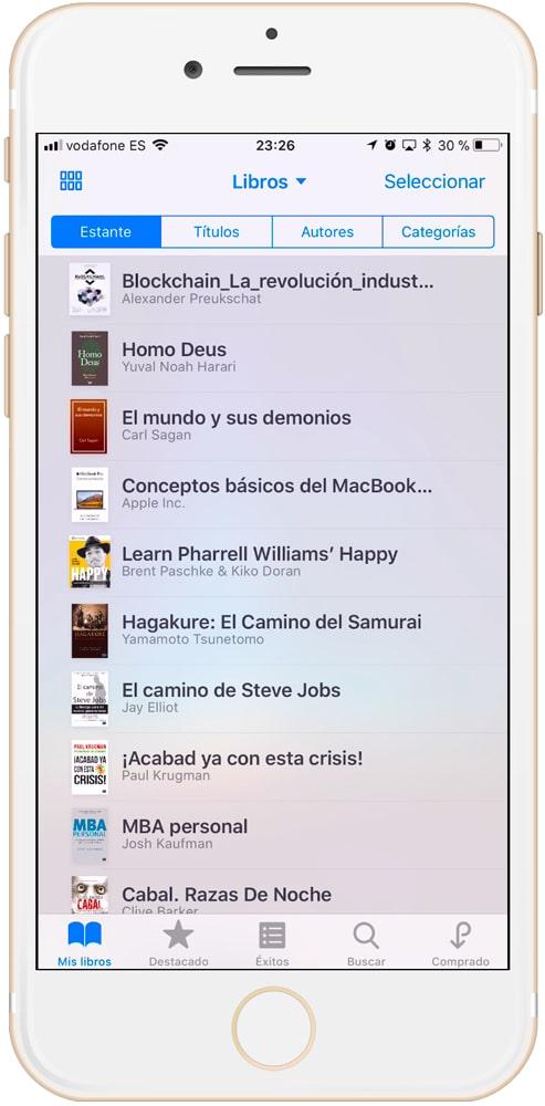 iBooks modo lista