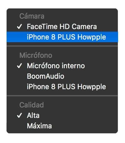 fuente en Quicktime para grabar la pantalla del iPhone en Mac