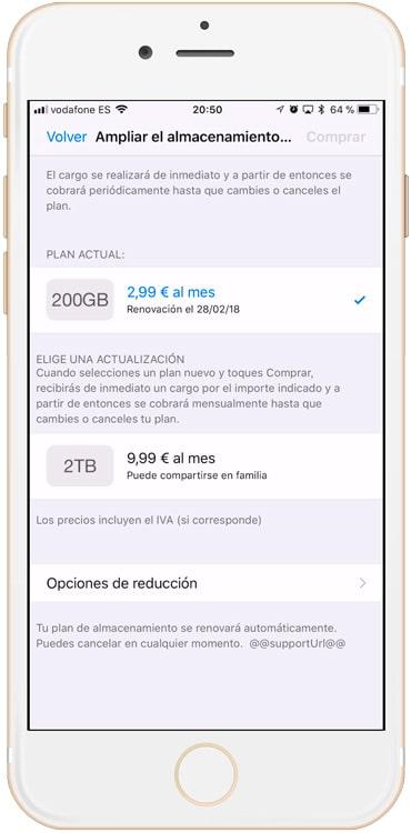 Planes de almacenamiento de iCloud