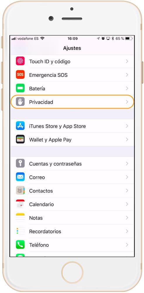 Ajustes de Privacidad en iOS