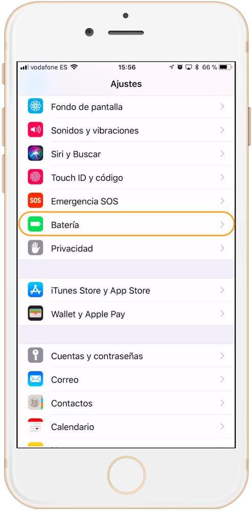 Ajustes bateria iOS