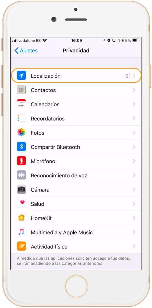 Ajustes de localización en iOS