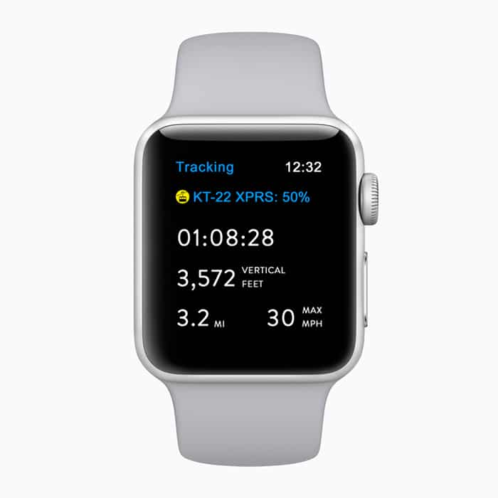 Aplicación Apple Watch snowboard