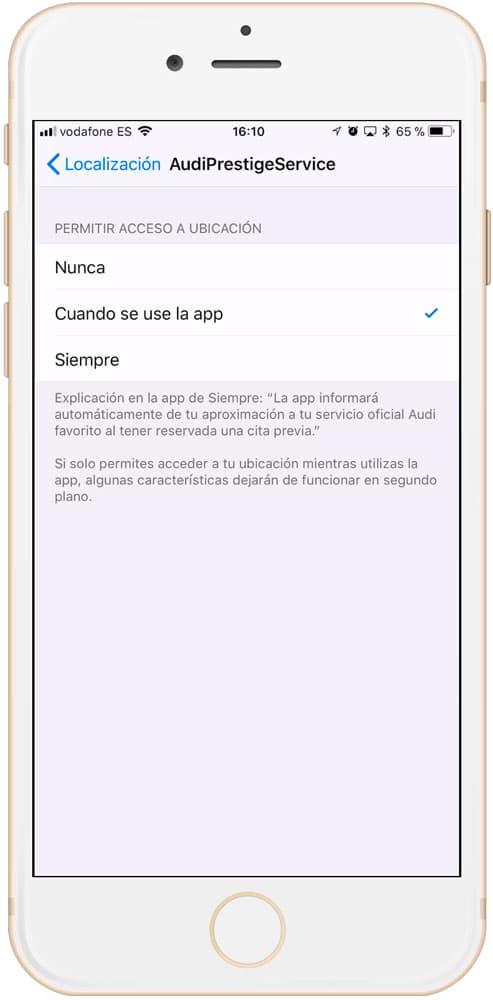 Uso de localización al usar aplicación