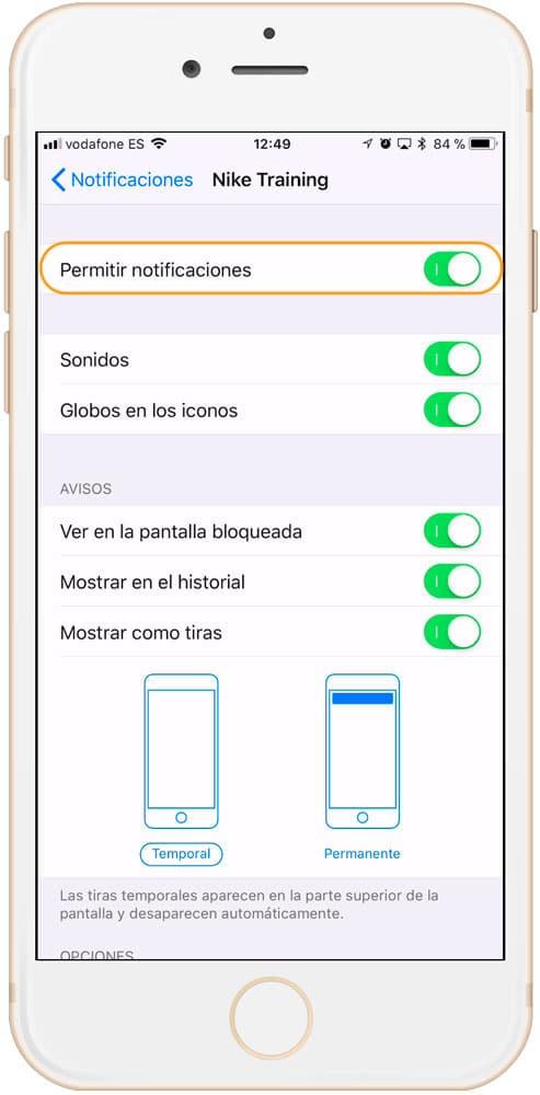 Notificaciones de aplicaciones en iOS para alargar la vida de la batería