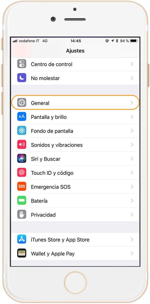 Ajustes Generales de iPhone
