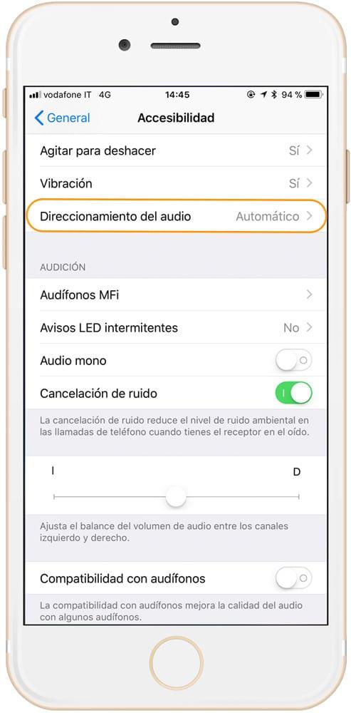 Sección direccionamiento de audio para contestar llamadas automáticamente