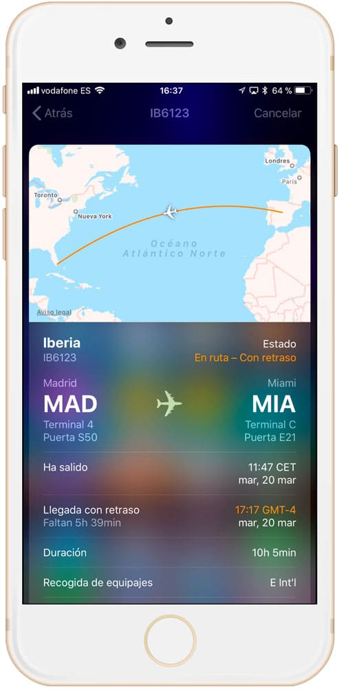 información de un vuelo en iPhone y iPad - info vuelos