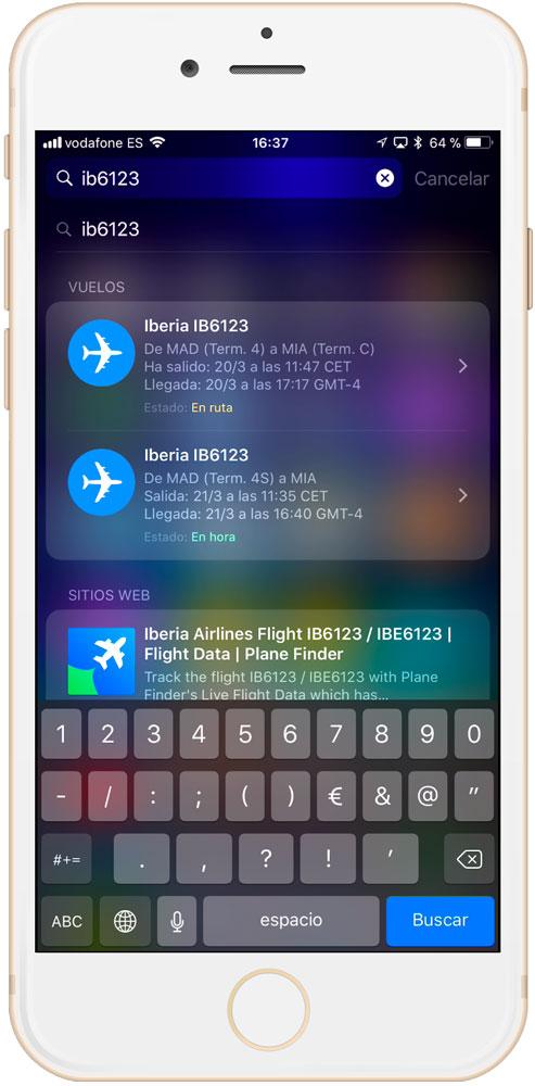 Resultados para ver la información de un vuelo - info vuelos