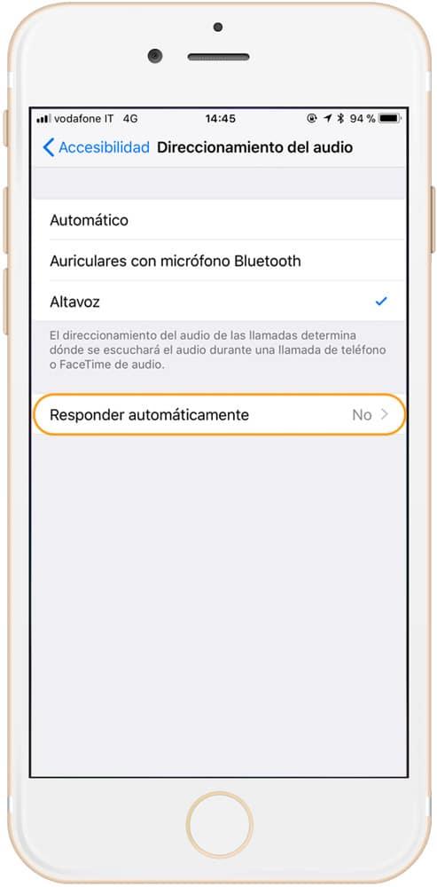Activar responder automaticamente a las llamadas en iPhone