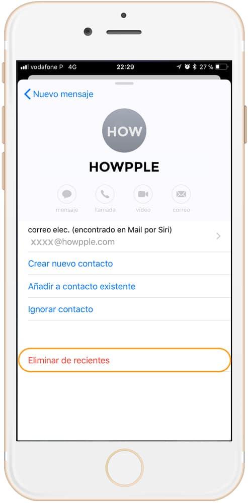 Cómo eliminar direcciones de correo recientes en iOS eliminar recientes