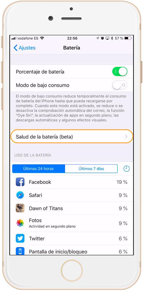 Opciones de batería en la actualizacion de iOS 11.3