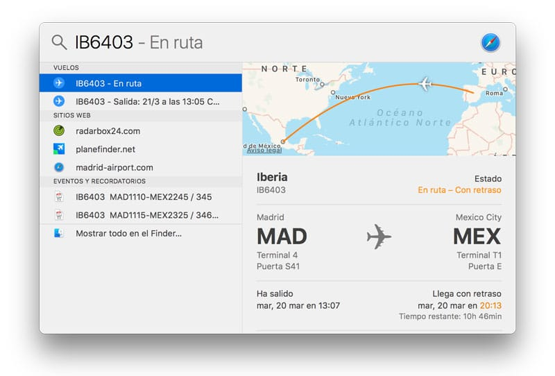 Cómo usar Spotlight en Mac para ver la información de un vuelo-info vuelos