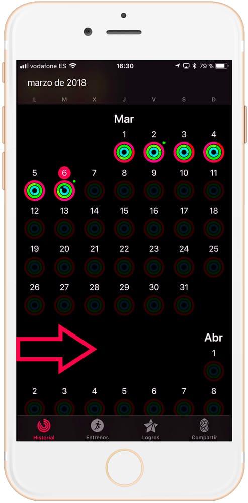 Deslizar a la derecha para ver el menú secreto del consumo de calorías semanales con la aplicación actividad de iPhone