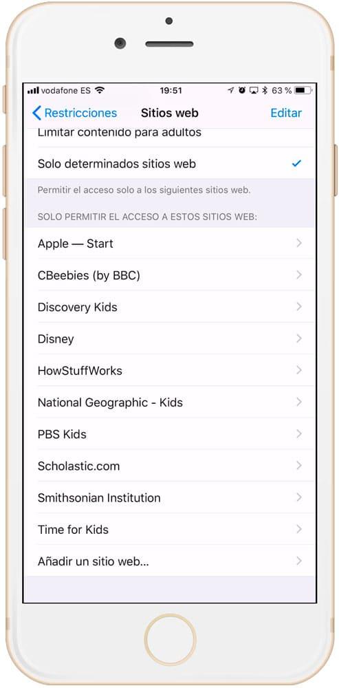 Control parental iPad permitir algunas webs