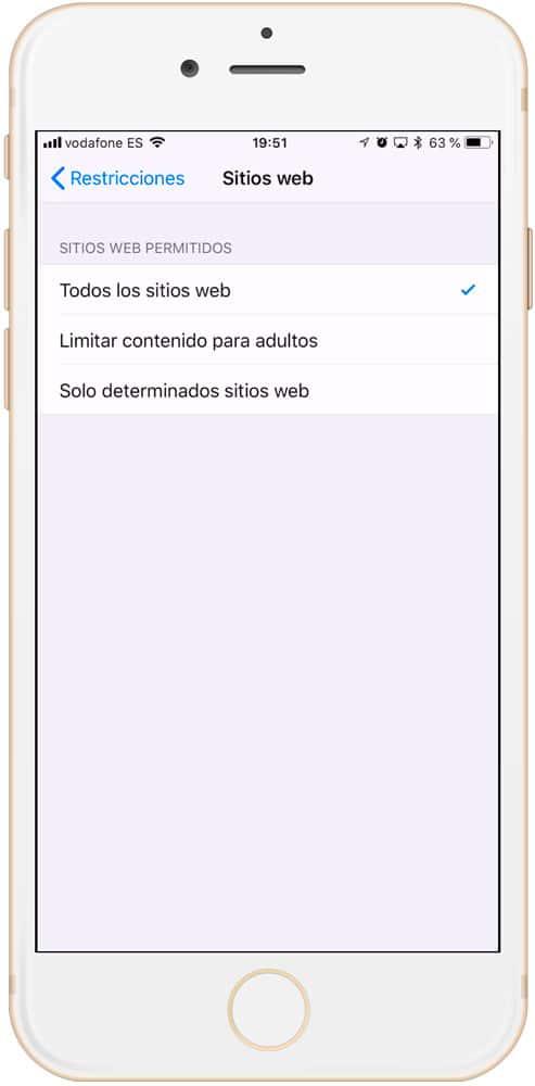 Control parental iPad para webs