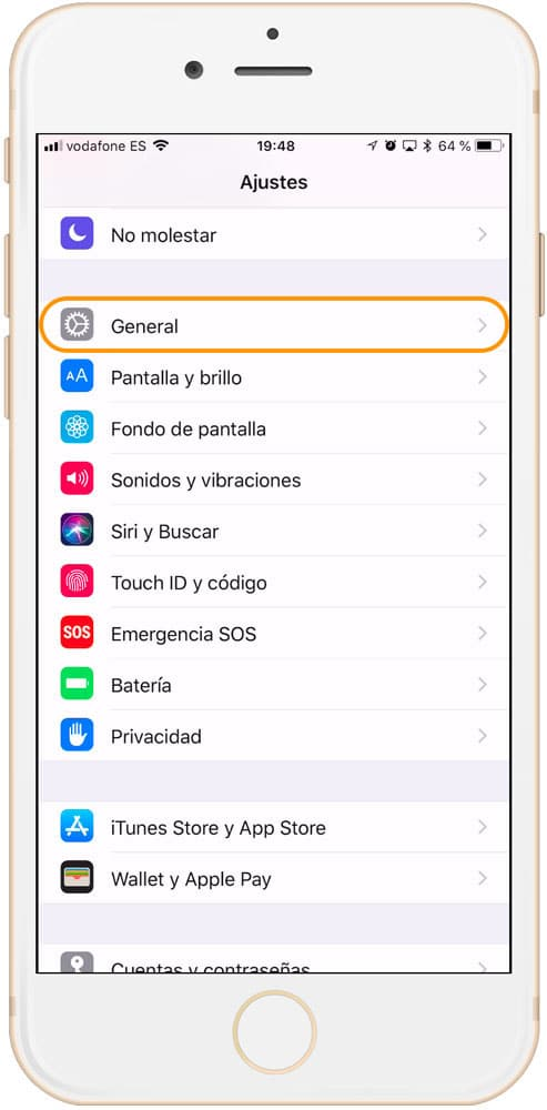 Ajustes general de iOS